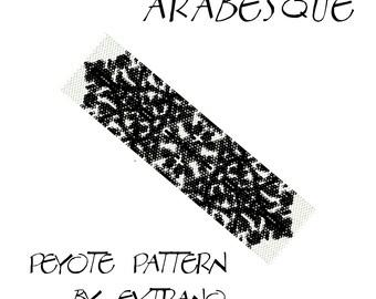 Peyote bracelet pattern, uneven peyote pattern, even peyote stitch, peyote pattern, DIY jewelry - ARABESQUE - 4 colors - Instant download