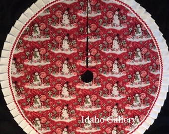 Hoiday Red Snowman Candy Land Christmas Tree Skirt Christmas Decor