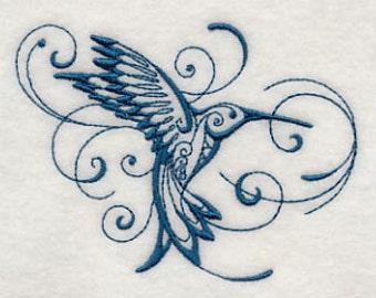 Hummingbird Towel - Embroidered Hummingbird - Bird - Flour Sack Towel - Hand Towel - Bath Towel  - Apron - Fingertip Towel Your COLOR CHOICE