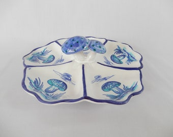 vintage Italian dish, handmade, handpainted, with 3D mushrooms, divided antipasto dish, dining entertaining