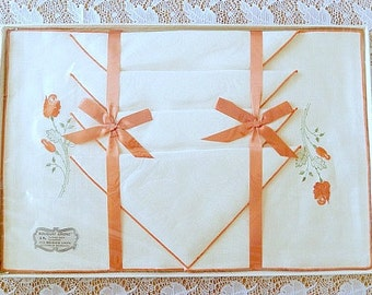 Bouquet Linens, place mats and napkins, all Belgium linen, in original box, never used, 8 pc, set of 4, table linens