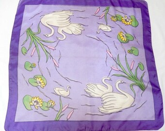 vintage scarf swans and cygnets, mauve, 1950s, large, silk, hand rolled edges, lily pads, accessory