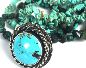 Sterling Silver Ring with Sleeping Beauty Turquoise - Ring Size 9