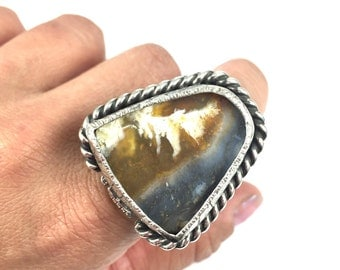 Sterling Silver and Plume Agate Statement Ring - Size 8