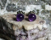 Deep Purple 6mm Round Natural Amethyst Stud Type Earrings Earings Titanium Hypo Allergenic Handmade in Newfoundland Rich Birthstone February