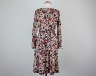 70s autumn floral print belted long sleeve dress (m - l)