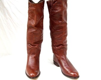 SALE FRYE Brown Riding Boots size 8.5 Dorado Leather Boot Made in Spain