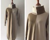vintage Tentative Schedule wool dress / minimalist knit wool funnel neck dress