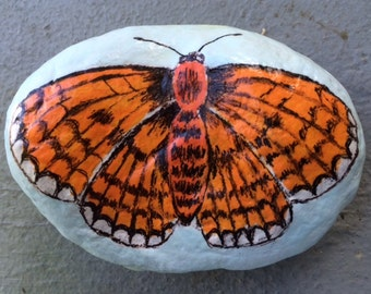 Brown butterfly painted rock