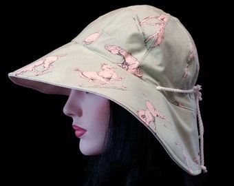 Cottage Hat Wide Brim Sun Hat subtle horse print with adjust fit and reversible plus chinstrap for boating/convertibles/windy days