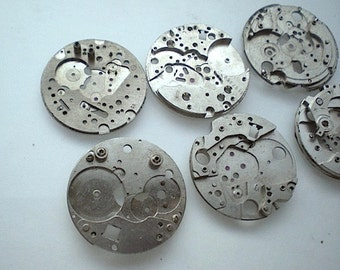 Vintage steampunk watch parts, 6 watch back plates (L21)