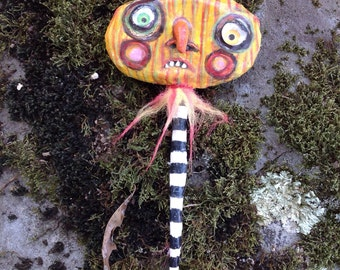 Paper Mache Halloween ornament Stick Head crazy kooky pumpkin head
