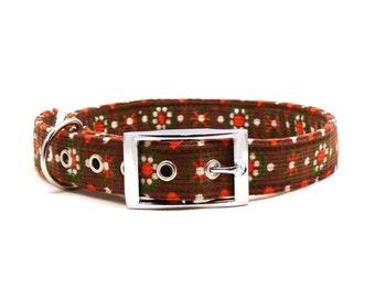 Brown floral dog collar - Metal buckle pet collar - Corduroy dog collar - Hazel pet collar - Grandma's Housecoat metal buckle dog collar