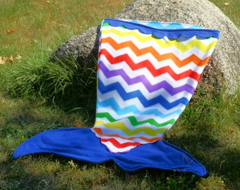Fleece Mermaid Tail Blanket, Modern Chevron Pattern
