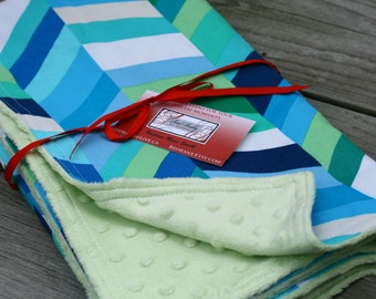 Blue and Green geometric Minky-dot backed baby blanket - READY TO SHIP