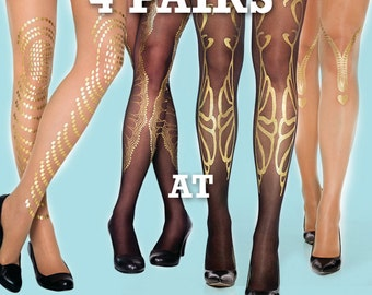 SALE! Save 20% off on 4 pairs of gold tattoo tights available in S-M L-XL