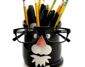 Cat pencil cup and glasses holder, gift for cat lover, catch-all, tuxedo cat, crazy cat lady co worker office desk accessories