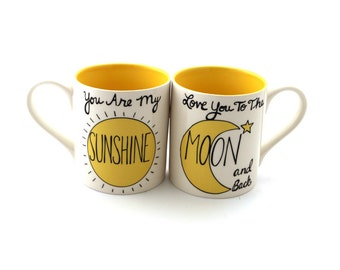 You are my sunshine, Love you to the moon and back, mug set,valentine's day gift, Couples' mugs, gift for couple, mr and mrs mugs
