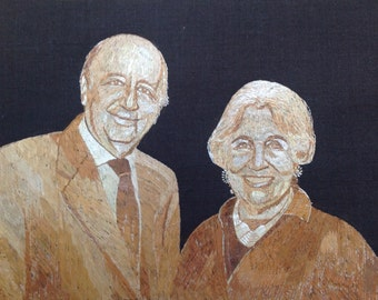 Mitchel of Galveston,TX father of fracking tech.  Portrait done with rice straw! ancient & endangered leaf art. SEEN rice straw art?