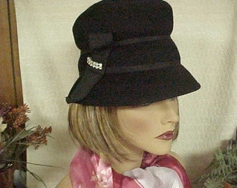 Black wool cloche hat with rhinestone deco and union label- fits 22""