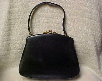 Antique 1930-40 black leather purse with change purse attached