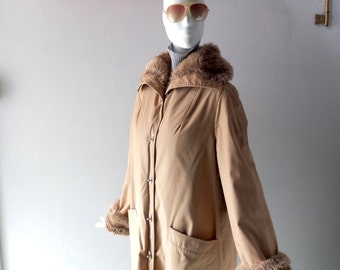 "Vintage 70s Khaki Bonnie Cashin Style Forecaster Canvas ""Furlook"" Lined Winter Coat - size M to L 8 10 12 - Turnlock Hardware Faux Fur Lined"