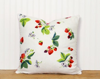 Cottage Pillow Cover - Vintage Fabric - Strawberries - Red and White - Cushion Cover - Decorative Pillow - Kitchen Decor - 18 inch