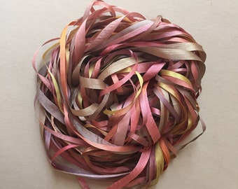 Silk Ribbon Remnants - Brown and Gold