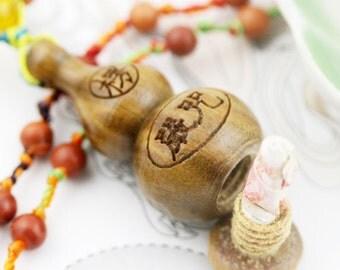 Shurangama hulu (unisex) necklace - wood jasper, agate, robles hulu and mantra