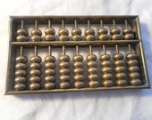 Brass Abacus with marble paperweight office home dorm decor math calculator