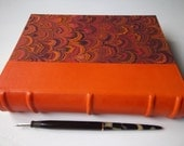 Heirloom Journal, orange leather and magenta/burgundy/orange marbled, multimedia fine art papers, Archival European Case Binding