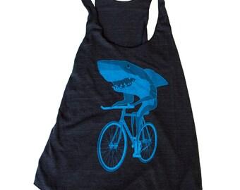 Ladies Shark on a Bike Racerback Tank Top American Apparel Black
