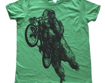 Gorilla on a BMX bike -  Kids T Shirt, Children Tee, Tri Blend Tee, Handmade graphic tee, sizes 2-12