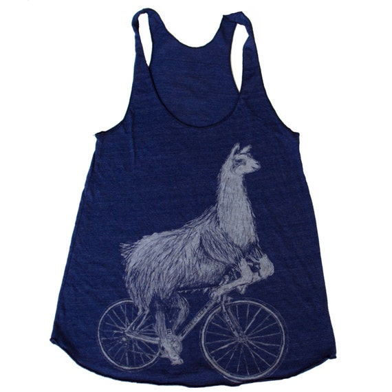 Llama on a Bicycle Racerback Tank Top - American Apparel Tri Blend Indigo - Available in XS, S, M, and L