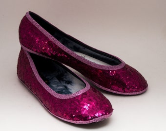 Ready 2 Ship | Size 6 Tiny Sequin Starlight Hot Fuschia Pink Ballet Flats Slippers Shoes