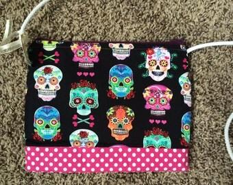 Sugar Skulls Crossbody Bag, crossbody bag, skulls, sugar skulls, handbag, zippered bag, day of the dead
