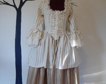 Striped short length sack back gown peasant Summer garden Antoinette Victorian inspired rococo costume top bodice