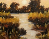 Twilight on The Marsh, Small Original Oil Painting by Prankearts - Home Decor