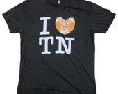 I Love / Heart TN , Tennessee t shirt with footballs