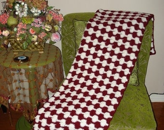 CHRISTMAS IN JULY 10% Off Brand New Ready to ship, Handmade Crochet Burgundy and White Throw Over- Afghan-Blanket