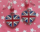 Union Jack heart with red glass bead anglophile earrings on silver ear wires