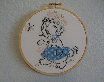 Vintage Embroidered Hoop Art