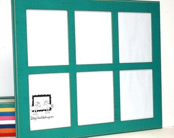 Picture frame collage, 6) 8x10, multi photo frame, window pane frame, multiple opening, distressed picture frame, 67 colors