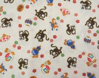 2662A -- Lovely Mini Monkey Fabric in Creamy White, Animal Fabric, Monkey Fabric, Metallic Print Fabric