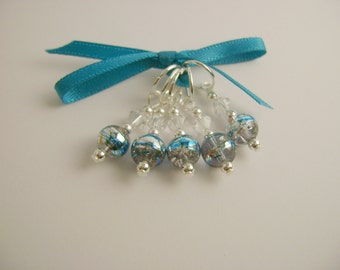 Silver and Blue Art Glass Stitch Markers for Knitting or Crochet