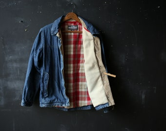 Woolrich Jean Jacket Denim Coat Blue with Red Plaid Lining and Faux Shearling From Nowvintage on Etsy