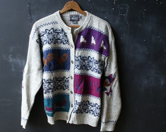 Woolrich Sweater Vintage Womans Size Medium Winter Theme Late 80s From Nowvintage on Etsy