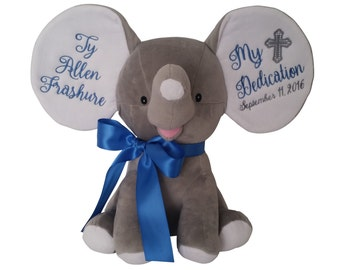 Personalized Baby Baptism Gift, Christening Gift, Godparents Gift, Plush Elephant Stuffed Animal