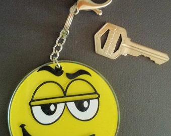 """Yellow and Green goofy face 3"""" keychain"""