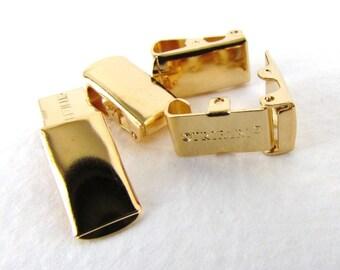 Vintage Clasp Gold Plated Trifari Foldover Bracelet Finding Metal 12mm clp0099 (4)